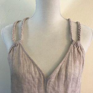 Rachel Zoe V Neck Linen slit Maxi Dress S